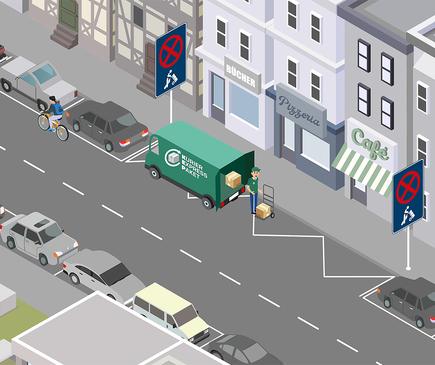 Die gezeichnete Abbildung einer Ladenstraße, wo ein Lkw auf der ausgewiesenen Fläche mit dem durch die Initiative empfohlenen Verkehrszeichen Ladezone hält.