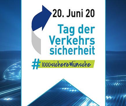 Das Logo zum Tag der Verkehrssicherheit vor einem blauen Hintergrund.