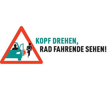 """Das Logo der Kampagne """"Kopf drehen, Rad Fahrende sehen!"""", womit innerhalb eines gezeichneten Warndreiecks die Dooring-Situation dargestellt ist."""