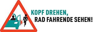 """Logo der Kampagne """"Kopf drehen, Rad Fahrende sehen!"""""""